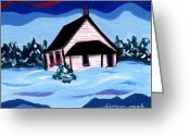 Schoolhouse Painting Greeting Cards - Little White Schoolhouse Greeting Card by Joyce Gebauer