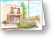 Vertical Painting Greeting Cards - Lompoc-chamber-of-comerce-ca Greeting Card by Carlos G Groppa