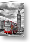 Clock Greeting Cards - LONDON - Houses of Parliament and Red Bus Greeting Card by Melanie Viola
