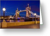 Shoreline Greeting Cards - LONDON - Tower Bridge by Night Greeting Card by Melanie Viola