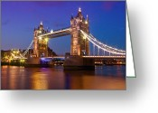Gb Greeting Cards - London - Tower Bridge during Blue Hour Greeting Card by Melanie Viola