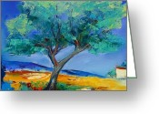 Landscape Painter Greeting Cards - Lone Olive Tree Greeting Card by Elise Palmigiani