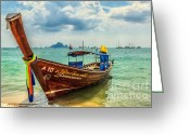 Moored Greeting Cards - Longboat Asia Greeting Card by Adrian Evans
