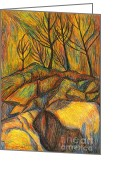 Rock Drawings Greeting Cards - Looking Up in Yellow Light Greeting Card by Kendall Kessler