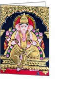 Featured Reliefs Greeting Cards - Lord Ganesha Greeting Card by Ambika Aggarwal
