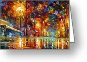 Leonid Afremov Greeting Cards - Lost Love Greeting Card by Leonid Afremov