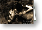 Western Digital Art Greeting Cards - Love Like a Cowgirl Greeting Card by Steven  Digman