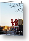 Bill Cannon Greeting Cards - Love Statue and the Art Museum Greeting Card by Bill Cannon