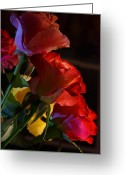 Mick Anderson Greeting Cards - Love Times Three Roses Greeting Card by Mick Anderson