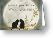 Kitty Digital Art Greeting Cards - Love you to the moon and back Greeting Card by Linda Lees