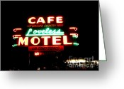 Neon Sign Greeting Cards - Loveless Cafe Greeting Card by Linda Woods