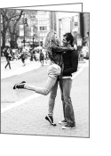 Lovers Embrace Greeting Cards - Lovers in the City Greeting Card by Diane Diederich