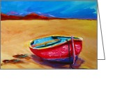 Poster From Greeting Cards - Low Tides - Landscape of a red boat on the beach Greeting Card by Patricia Awapara