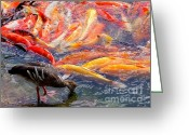 Mary Deal Greeting Cards - Lunch Time at the Koi Pond Greeting Card by Mary Deal
