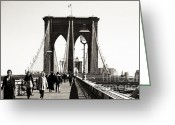 1990s Greeting Cards - Lunch Time on the Bridge 1990s Greeting Card by John Rizzuto