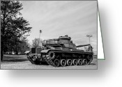 M60 Patton Tank Greeting Cards - M60A3 Patton Tank at Park Greeting Card by Noel Adams