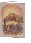 Sunset Prints Pastels Greeting Cards - Mac Gregors Barn in Pastel Greeting Card by Carol Wisniewski