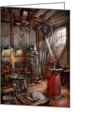 Indoors Photo Greeting Cards - Machinist - The modern workshop  Greeting Card by Mike Savad