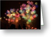 4th Greeting Cards - Macys July 4th Fireworks New York City  Greeting Card by Nishanth Gopinathan