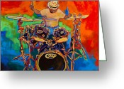 Jamming Painting Greeting Cards - Magic Cymbals Greeting Card by Terri Haugen