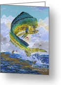 Black Bart Greeting Cards - Mahi Hookup Greeting Card by Carey Chen