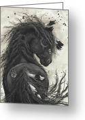 Fine American Art Greeting Cards - Majestic Friesian 45 Greeting Card by AmyLyn Bihrle
