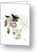 Native Portraits Greeting Cards - Majestic Mustang 41 Greeting Card by AmyLyn Bihrle