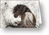 Fine American Art Greeting Cards - Majestic Mustang 57 Greeting Card by AmyLyn Bihrle