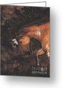 Native Portraits Greeting Cards - Majestic Mustang Series 40 Greeting Card by AmyLyn Bihrle