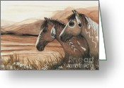 Native Portraits Greeting Cards - Majestic Mustang Series 42 Greeting Card by AmyLyn Bihrle