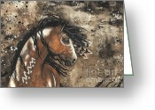 Fine American Art Greeting Cards - Majestic Mustang Series 61 Greeting Card by AmyLyn Bihrle