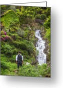 Enchanted Greeting Cards - Man At A Waterfall Greeting Card by Joana Kruse