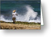 Old Man Fishing Greeting Cards - Man versus the Sea Greeting Card by Mike  Dawson