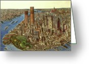 Aquarel Greeting Cards - Manhattan 72 - New York Greeting Card by Peter Art Prints Posters Gallery