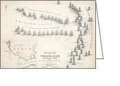 Featured Greeting Cards - Map of the Battle of Trafalgar Greeting Card by Alexander Keith Johnson