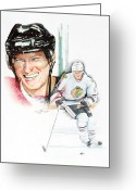 Hockey Mixed Media Greeting Cards - Marian Hossa-- Big Hoss Greeting Card by Jerry Tibstra
