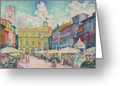 Pointillist Painting Greeting Cards - Market of Verona Greeting Card by Paul Signac