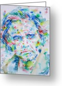 Marlon Brando Greeting Cards - MARLON BRANDO - watercolor portrait Greeting Card by Fabrizio Cassetta