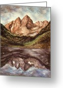 National Drawings Greeting Cards - Maroon Bells - Colorado Landscape Greeting Card by Peter Art Prints Posters Gallery