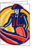 Performer Greeting Cards - Matador Bullfighter Cape Retro Greeting Card by Aloysius Patrimonio