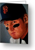 Third Base Greeting Cards - Matt Williams Greeting Card by Jena Rockwood