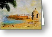Rabat Painting Greeting Cards - Medina of Tetouan Greeting Card by Catf