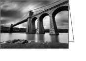 Design And Photography. Greeting Cards - Menai Suspension Bridge Greeting Card by David Bowman