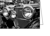 Christopher Holmes Greeting Cards - Mercedes 544k Grille - BW Greeting Card by Christopher Holmes