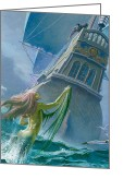 Featured Greeting Cards - Mermaid seen by one of Henry Hudsons crew Greeting Card by Severino Baraldi