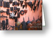 Moroccan Market Greeting Cards - Metal Work Marrakesh Greeting Card by Sophie Vigneault