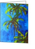 Landscape Posters Painting Greeting Cards - Miami Beach Palm Trees in a blue sky Greeting Card by Patricia Awapara