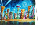 Colorful Buildings Greeting Cards - Miami City South Beach Original Painting Tropical Cityscape Art MIAMI NIGHT LIFE by MADART Absolut X Greeting Card by Megan Duncanson