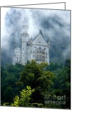 King Ludwig Greeting Cards - Misty Castle Greeting Card by Carol Groenen