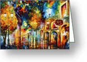 Leonid Afremov Greeting Cards - Misty City Mood New Greeting Card by Leonid Afremov